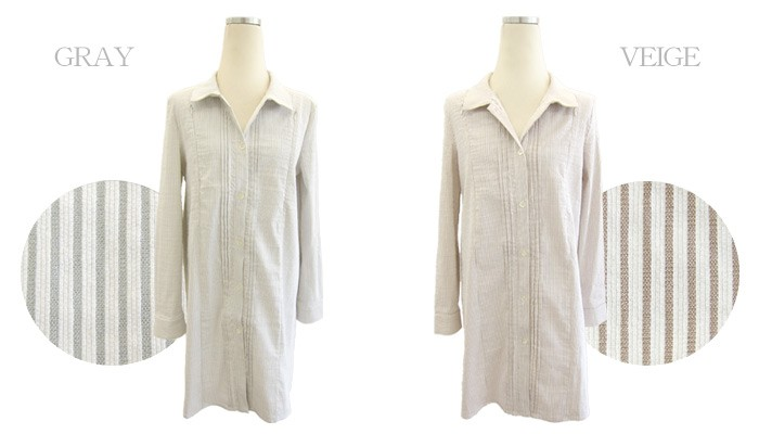 ピンタック ストライプ 授乳口付きシャツ 授乳服&マタニティウェア