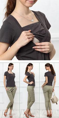 ラウンドネック シンプル 授乳Tシャツ 授乳カットソー 授乳服&マタニティウェア[st1296]