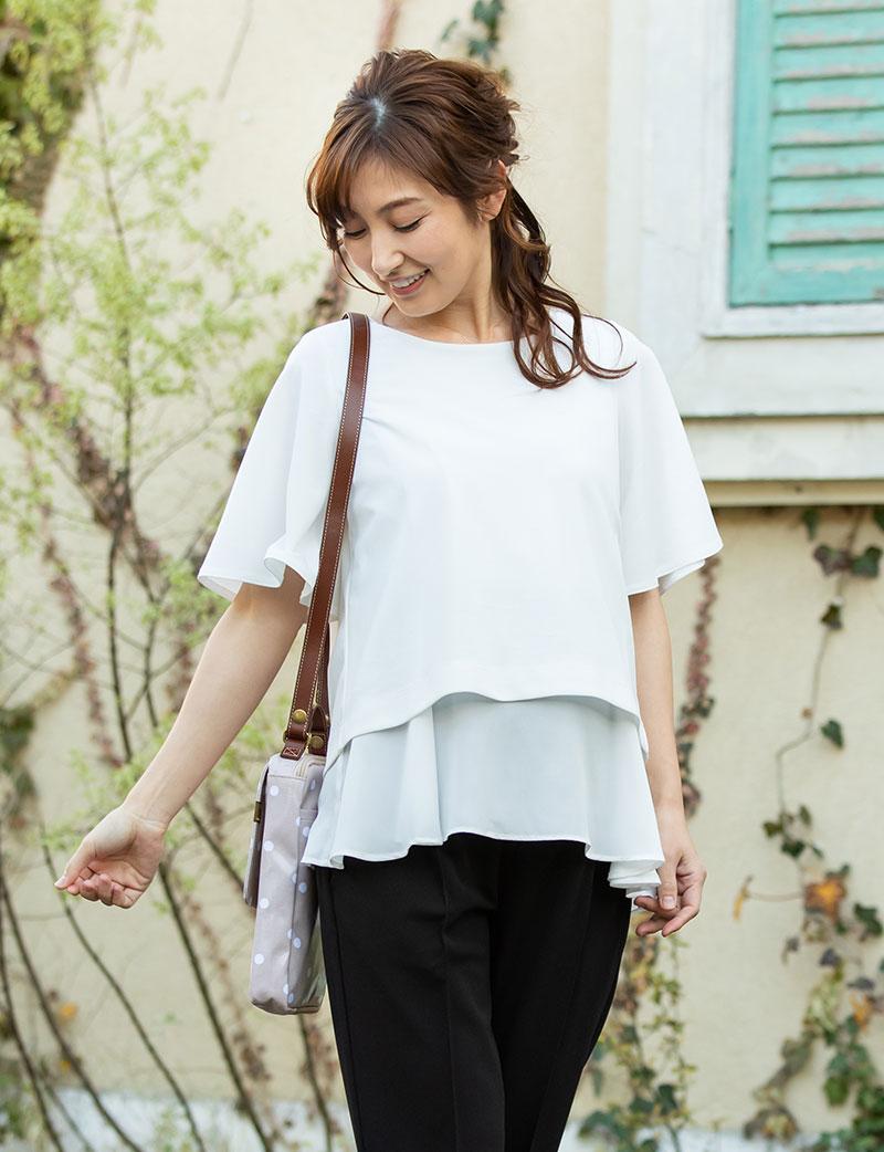透け感のあるシフォンを裾から魅せるおしゃれなレイヤードスタイル マタニティイメージ