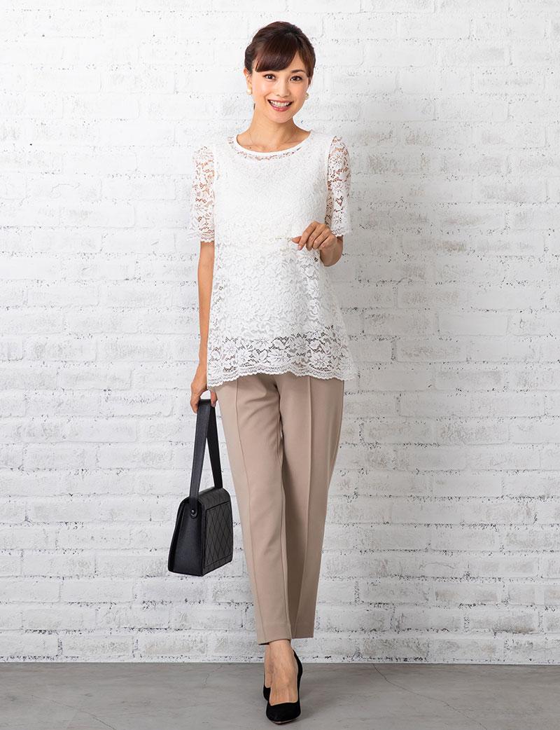 リュクスな花柄スカラップレースをたっぷり贅沢に使用した、タンクトップ&授乳Tシャツの2点SET
