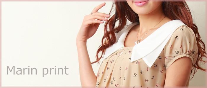 マリンプリント 重ね襟 シフォントップス 授乳機能付き 授乳服/トップス/半袖