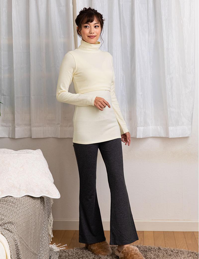秋冬にぴったりのしっかりあったか素材の授乳服トップス