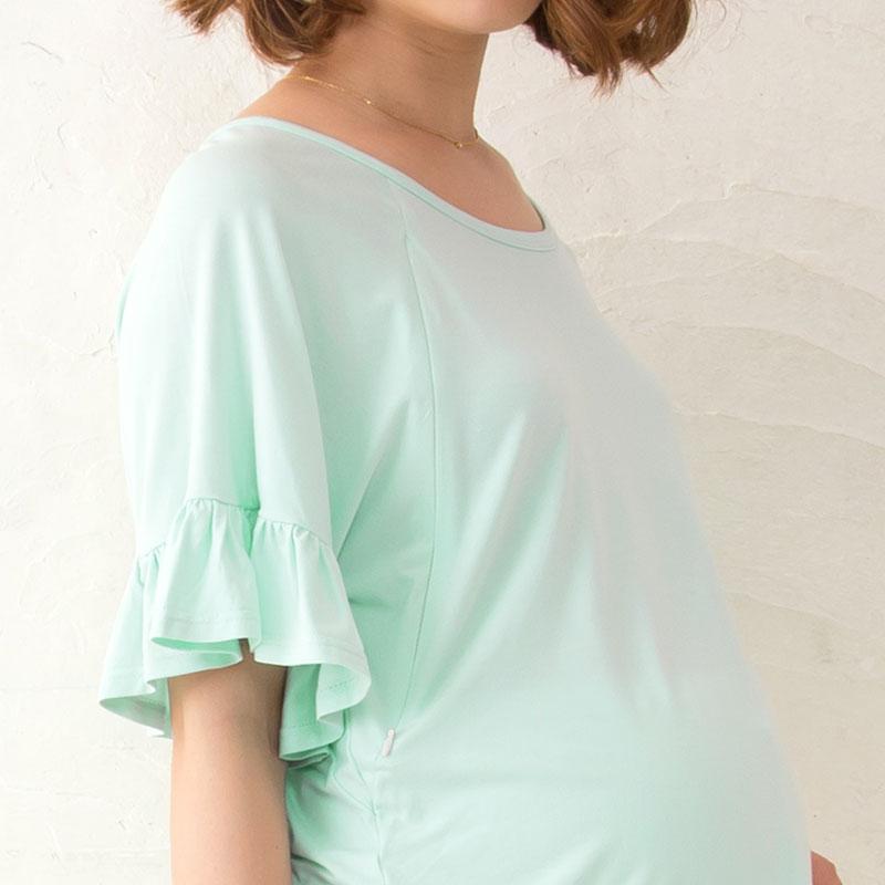 竹繊維授乳服プルオーバーのピンク着用