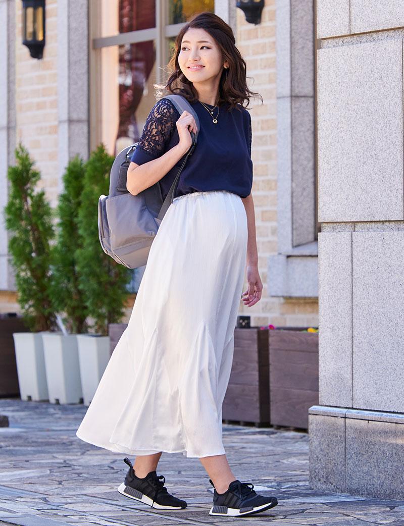 授乳服マタニティウェア スウェットプルオーバーの杢ブルー