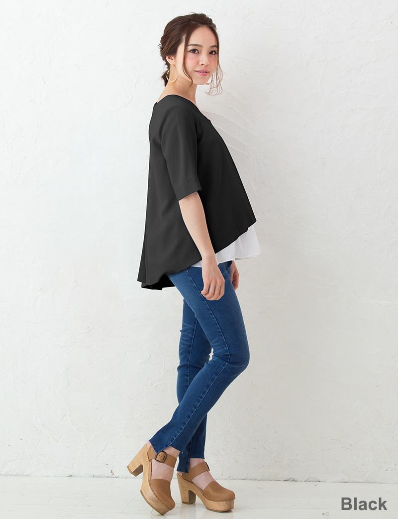 ブラックのマタニティブラウス着用のモデル マタニティイメージ