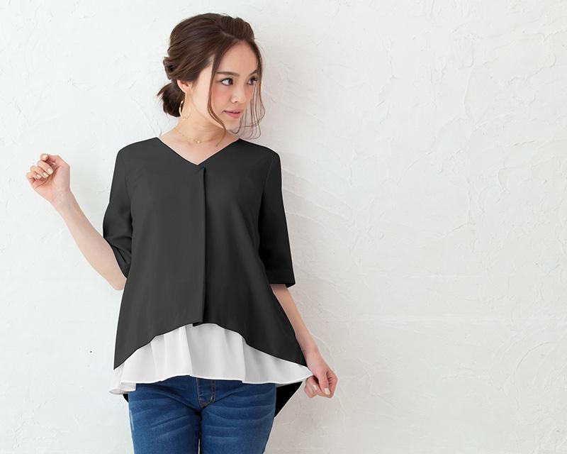 ブラック着用のマタニティモデル フロントスタイル