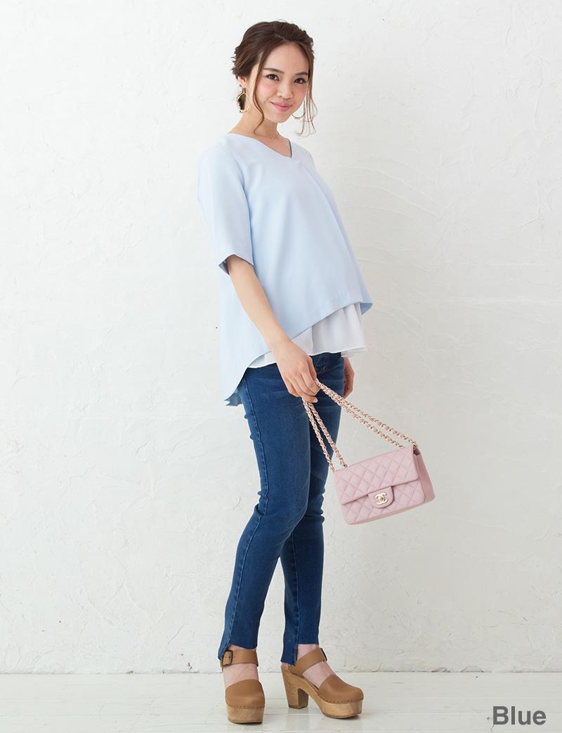 明るいブルー着用モデル マタニティトップス 全身イメージ