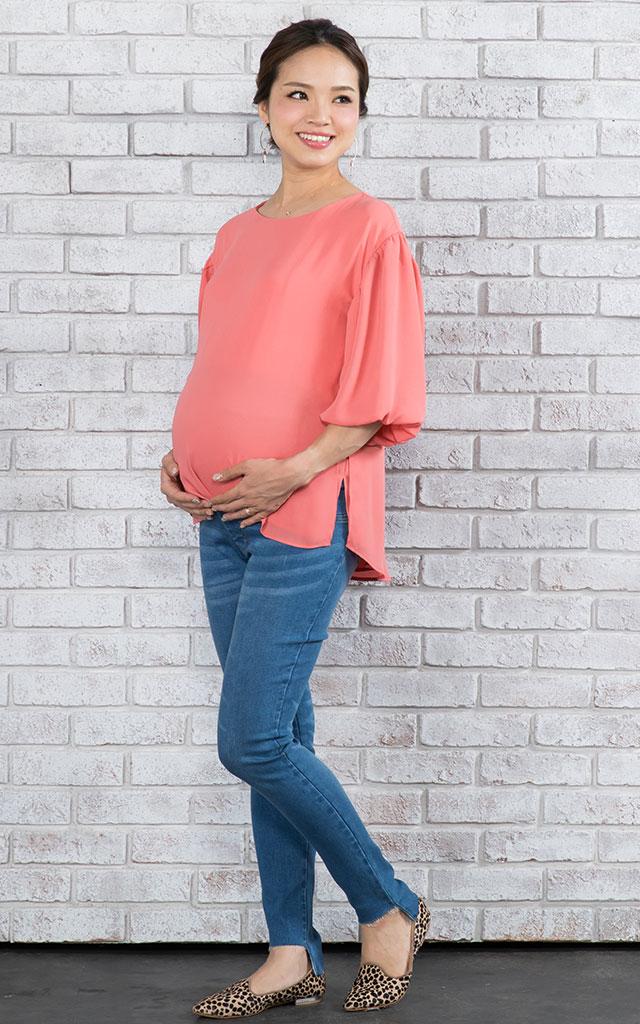 長め丈で妊娠中も体型カバーで安心のマタニティトップス