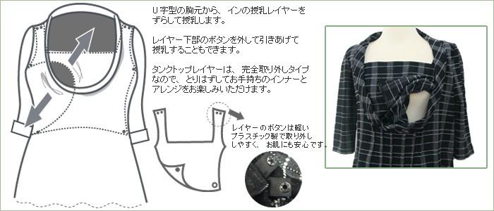 レトロ授乳機能付きワンピース【エマ】 授乳機能付