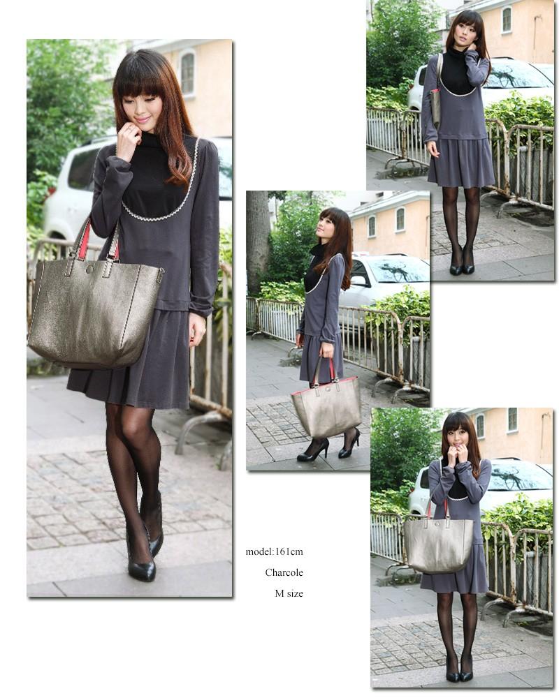 授乳服 タートルネックレイヤードワンピース(ルナ) 長袖 授乳レイヤー2枚付き sw9006 タートル