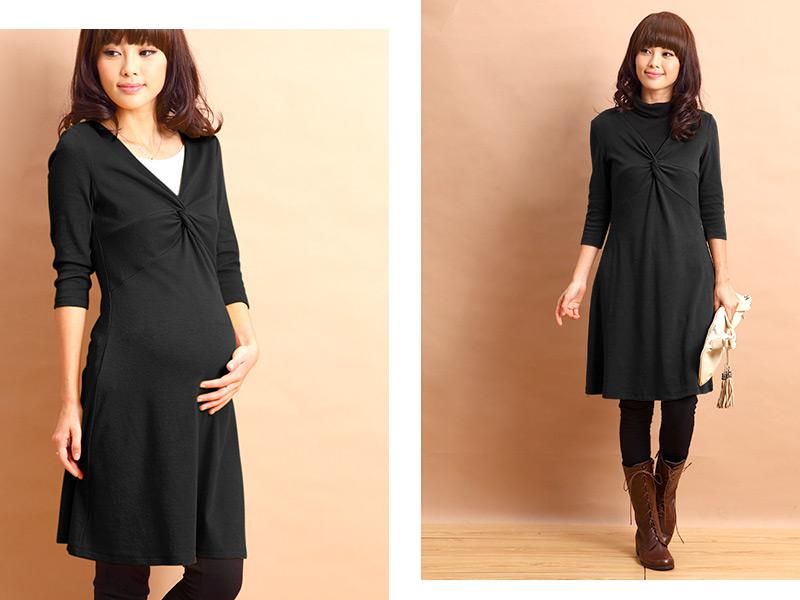 シックなブラックな授乳服ワンピース