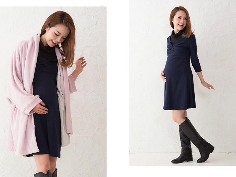 アレンジしやすいシンプルデザインの授乳服ワンピース