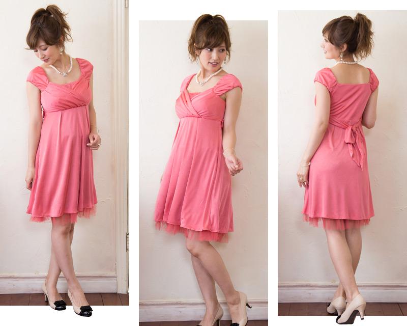 うしろから見ても可愛い授乳服ドレス
