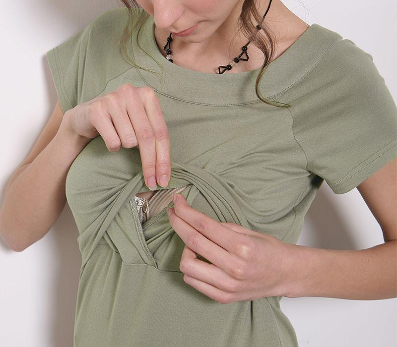 授乳機能 ベーシックなシンプルTシャツ ライトカーキ
