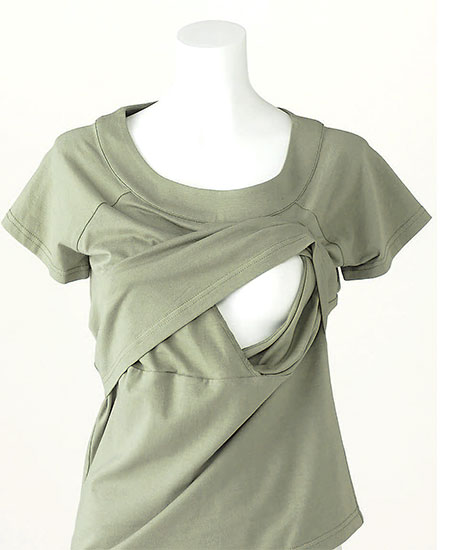 授乳口付き 授乳機能付き シンプルTシャツ