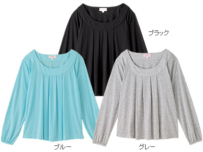 ふんわりタック授乳ロングTシャツ