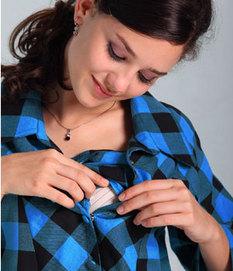チェック柄フリル授乳機能付きワンピース 授乳服&マタニティウェア[sw9209]