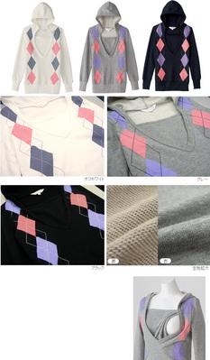アーガイル授乳パーカー 授乳服&マタニティウェア[sw9266]