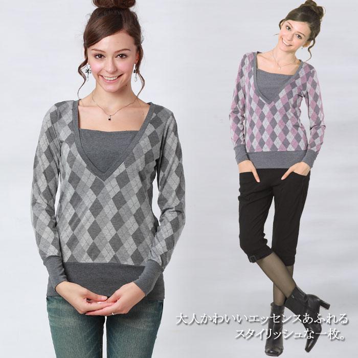 アーガイル柄授乳Tシャツ