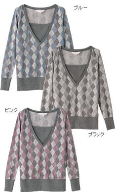アーガイル柄授乳ロングTシャツ 授乳服[sw9267]