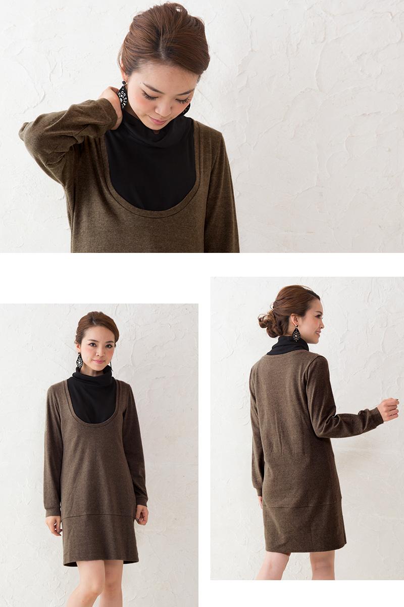 暖かな雰囲気の素材感で秋冬の定番授乳服に