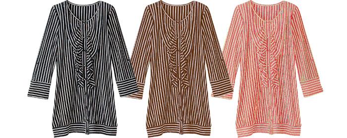 シャツ風フリル ストライプ授乳ワンピース 授乳服/シャツ/トップス/チュニック/ボーダー