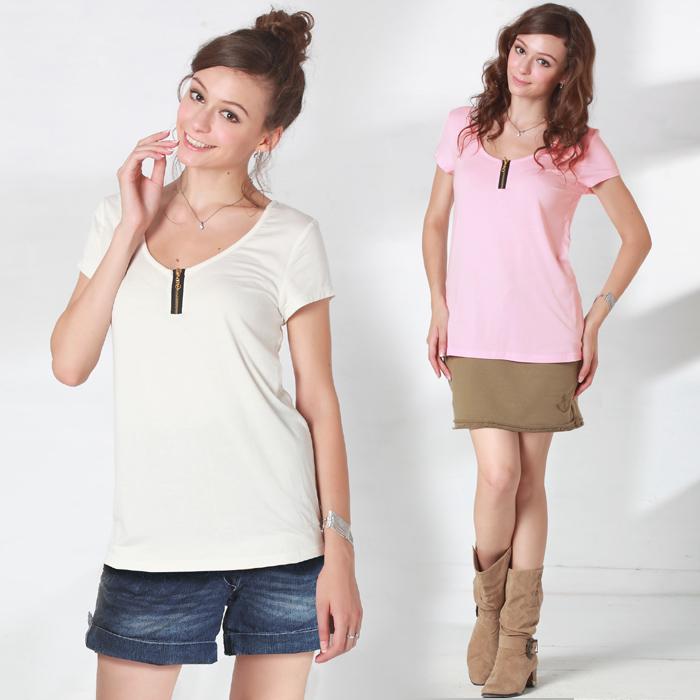 ジップ付きビビットカラー授乳Tシャツ