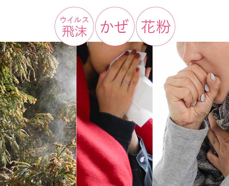 ウイルス飛沫、風邪、花粉