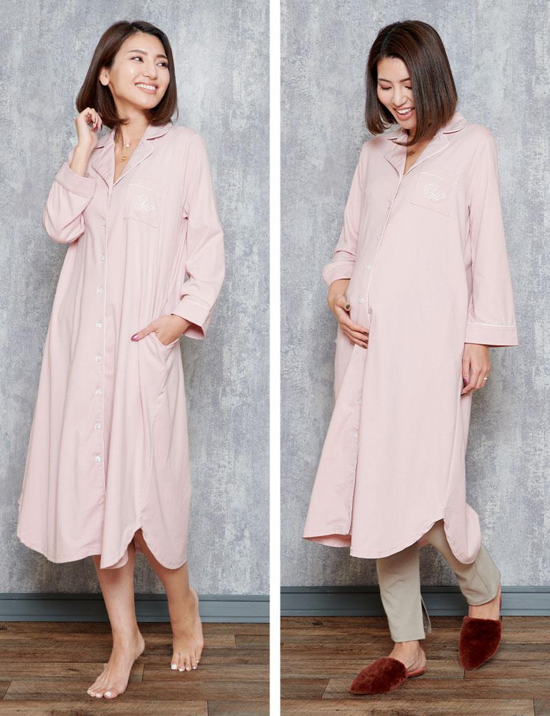 落ち着いたトーンのピンクカラーパジャマ