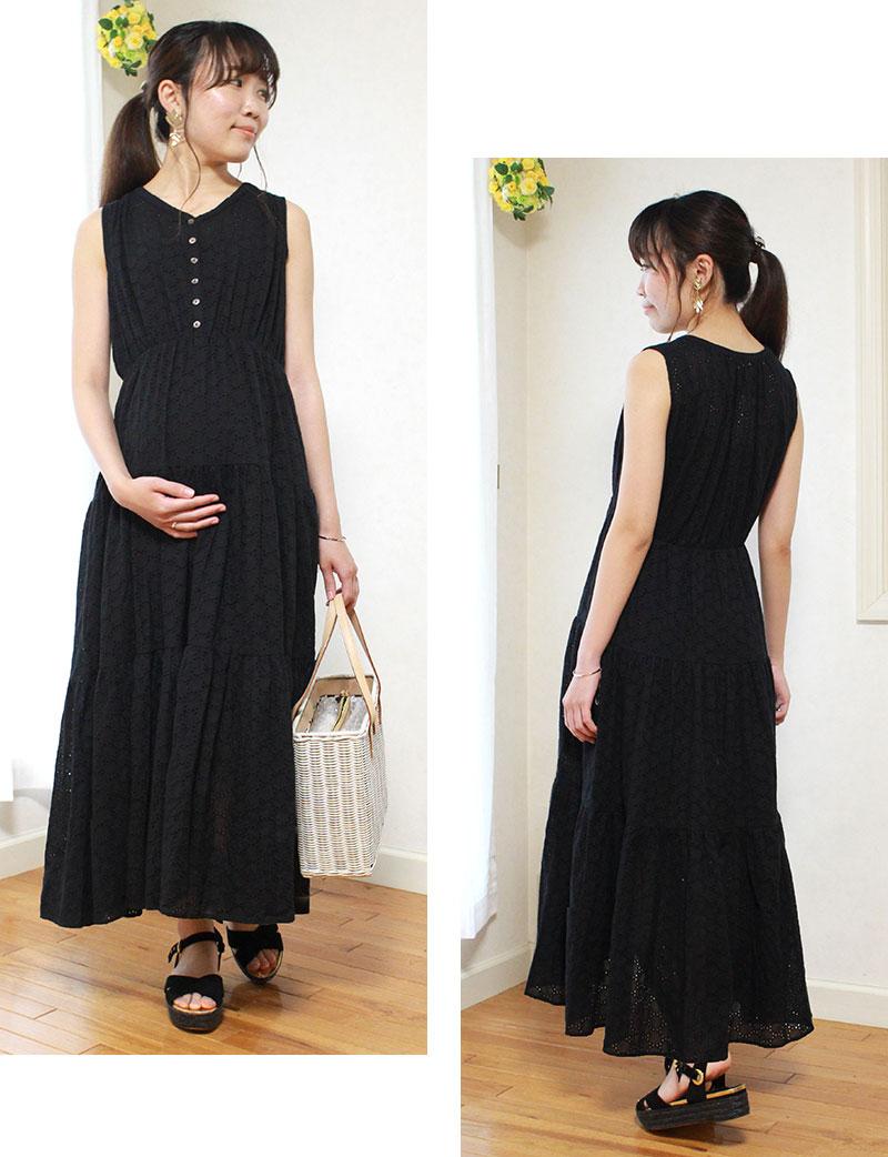 甘さを抑えたモードな雰囲気のブラック着用