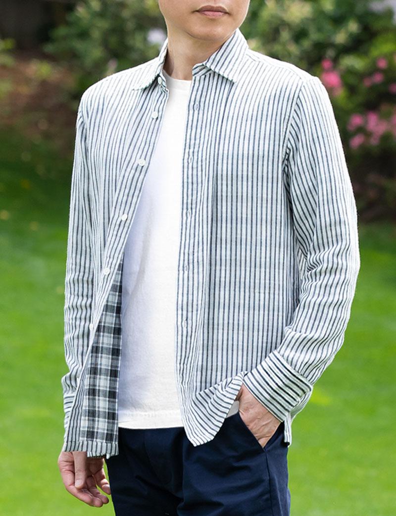 メンズシャツ ダブルフェイスガーゼ コットン100%シャツ ストライプ